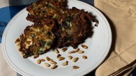 Latkes with Leek, Chard, Pine Nuts and cheese
