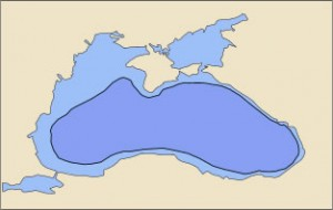 Black Sea today (light blue) and in 5600 BC (dark blue) according to Ryan's and Pitman's hypotheses.